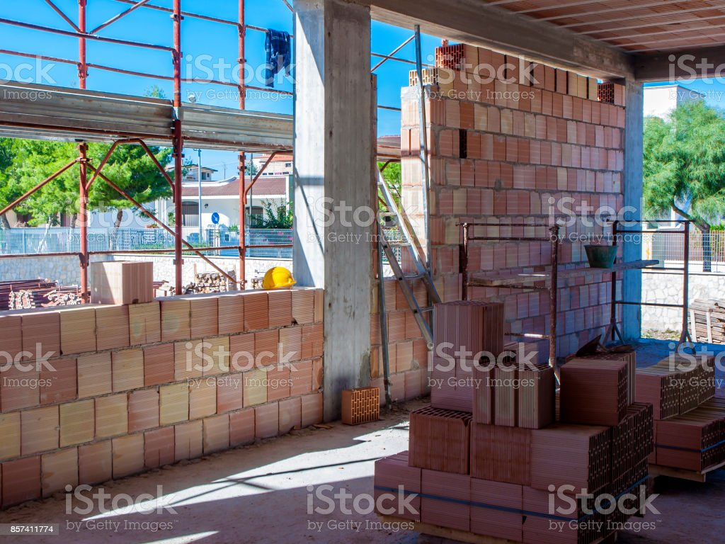 view of building construction site. Work in progress. stock photo