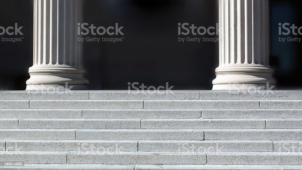 View Of Building Steps And Column In USA stock photo