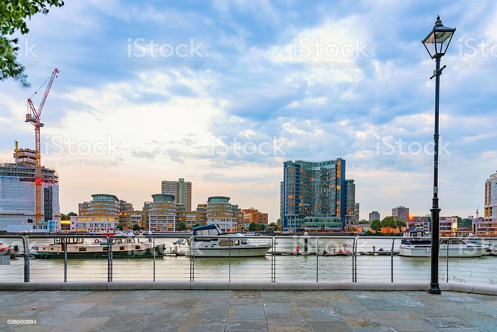 View of buildings along the river stock photo