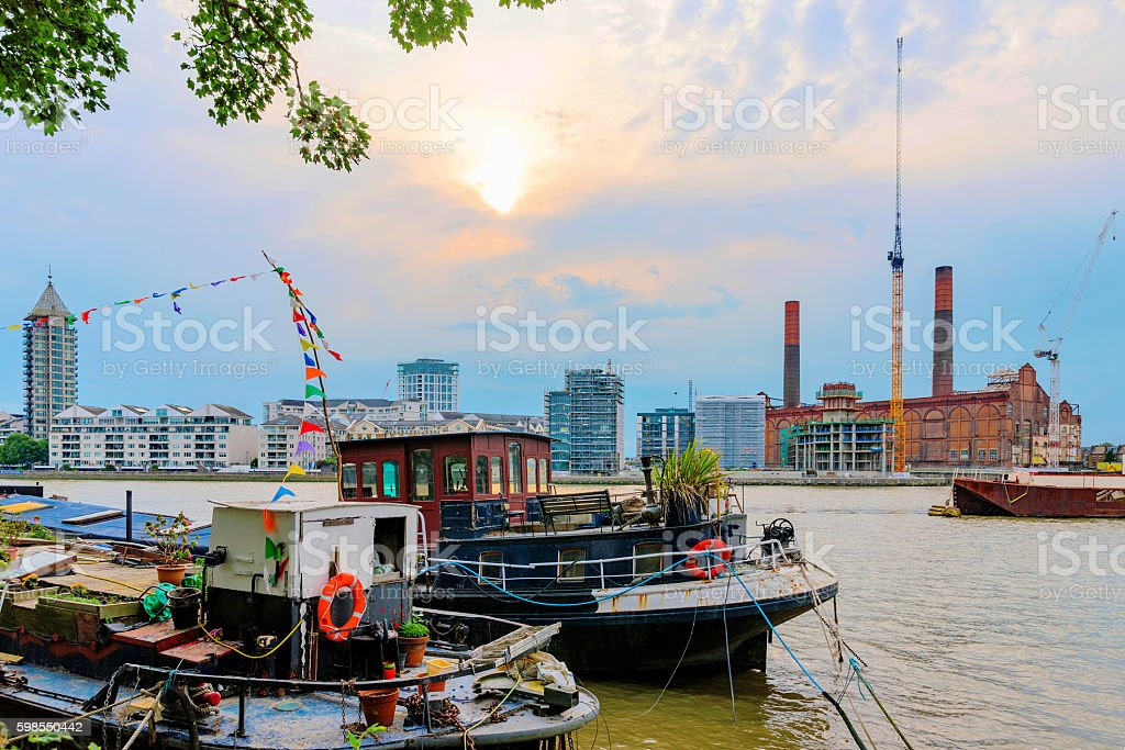 View of buildings and boats stock photo