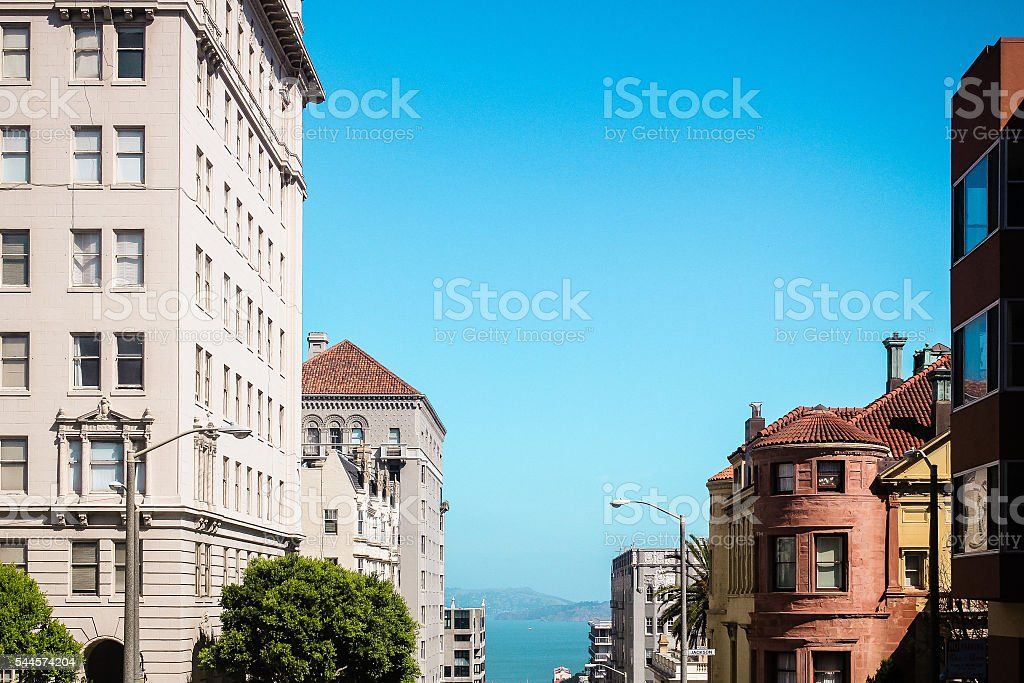 View of buildings and sea at San Francisco, California stock photo