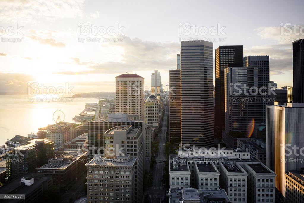 View of buildings in downtown Seattle at dusk stock photo