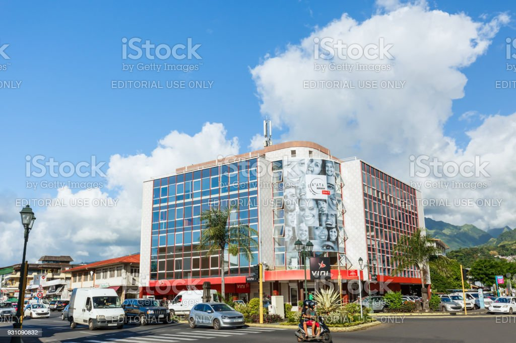 A view of buildings in the town of Papeete early in the morning in Tahiti  Papeete, French Polynesia. stock photo