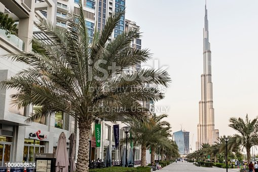 View of Burj Khalifa from Bay Avenue in the Executive Towers residential development in Business Bay, Dubai, UAE