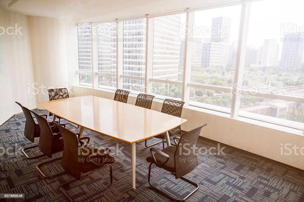 View of business conference room table in office stock photo