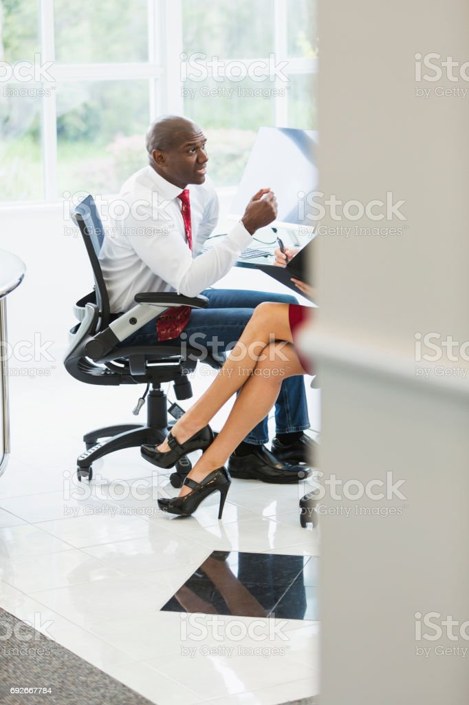View of businessman in meeting stock photo