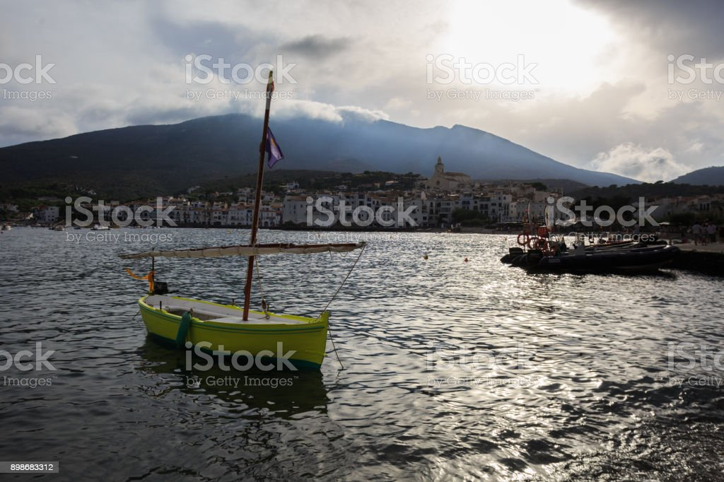 View of Cadaques, beatiful town on Mediterranean seaside stock photo