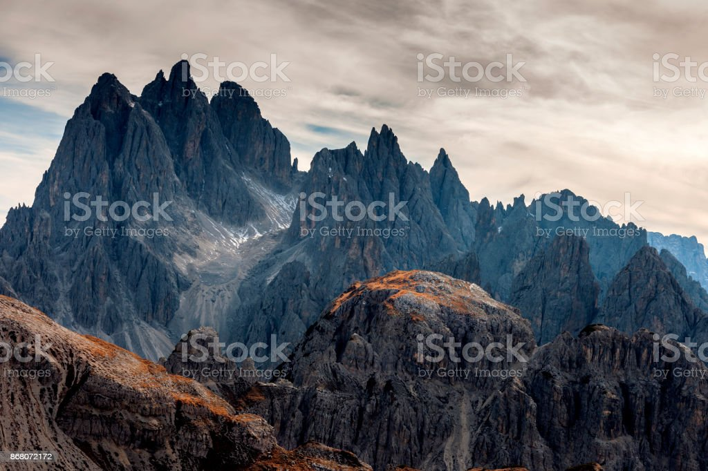 View of Cadini di Misurina from the saddle, Dolomiti, Italy royalty-free stock photo