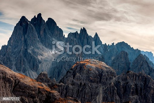 View of Cadini di Misurina from the saddle, Dolomiti, Italy