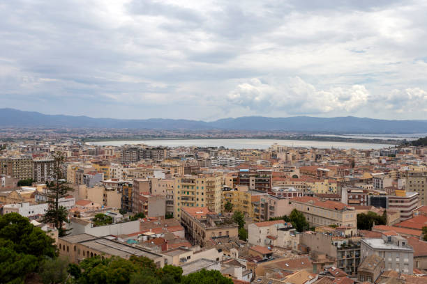 View of Cagliari on a cloudy summer day stock photo
