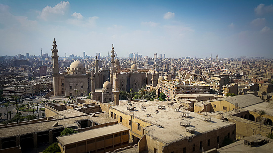 468444004 istock photo View of Cairo City Skyline From Citadel. Warm Bright Color Filter. 1182078743