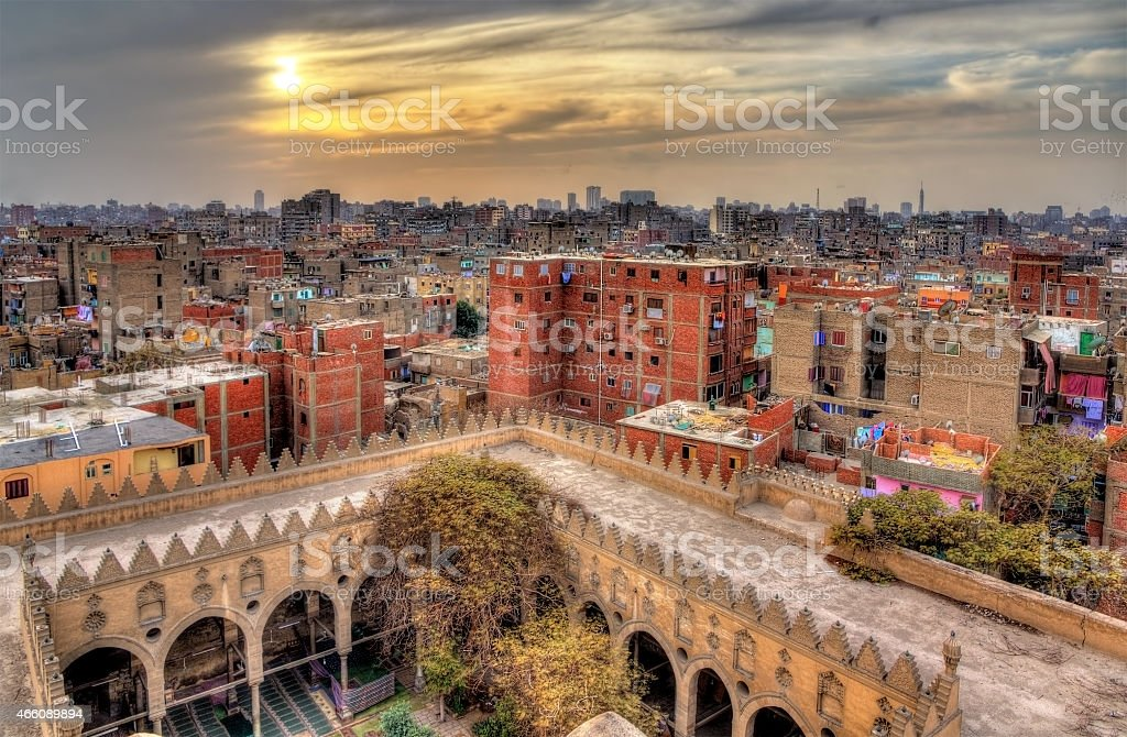 View of Cairo from roof of Amir al-Maridani mosque stock photo