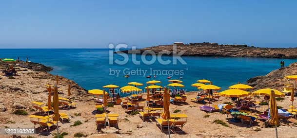 Lampedusa, Italy - August, 01: View of Cala Croce beach on August 01, 2018
