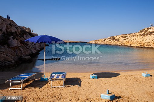 View of Cala Madonna beach in the summer season, Lampedusa. Sicily