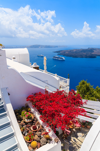 istock A view of caldera and typical red flowers on terrace of a house in Firostefani village, Santorini island, Greece 978238786