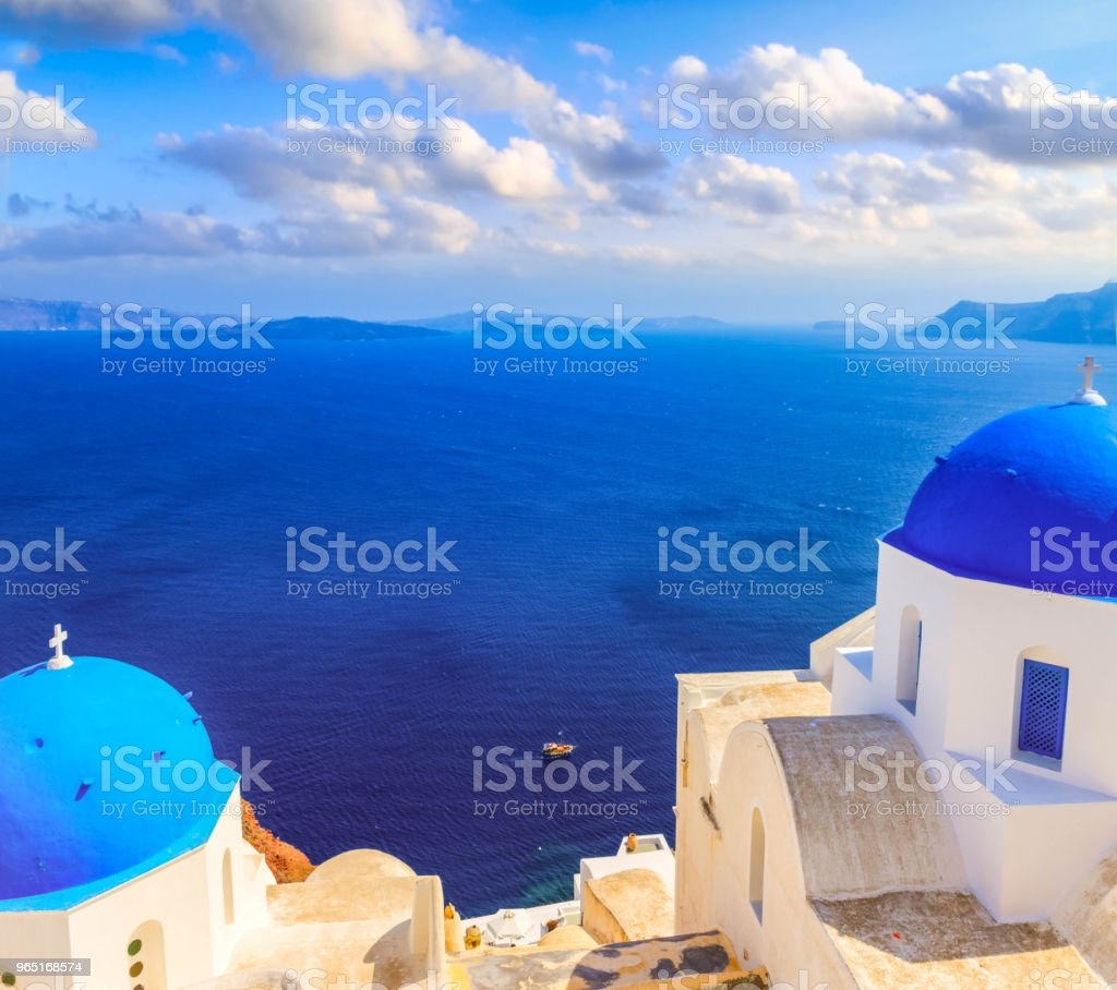 view of caldera with blue domes, Santorini zbiór zdjęć royalty-free