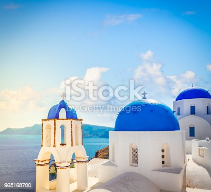 View Of Caldera With Blue Domes Santorini Stock Photo & More Pictures of Aegean Islands