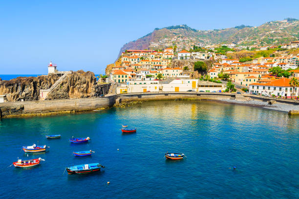 view of camara de lobos port with colourful fishing boats on sea, madeira island - ilha da madeira imagens e fotografias de stock