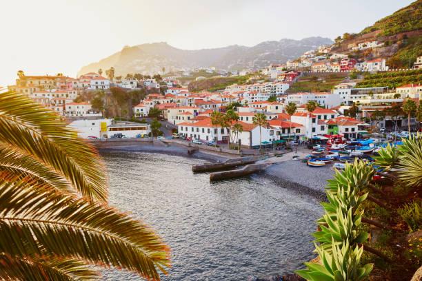View of Camara de Lobos village, Madeira, Portugal stock photo