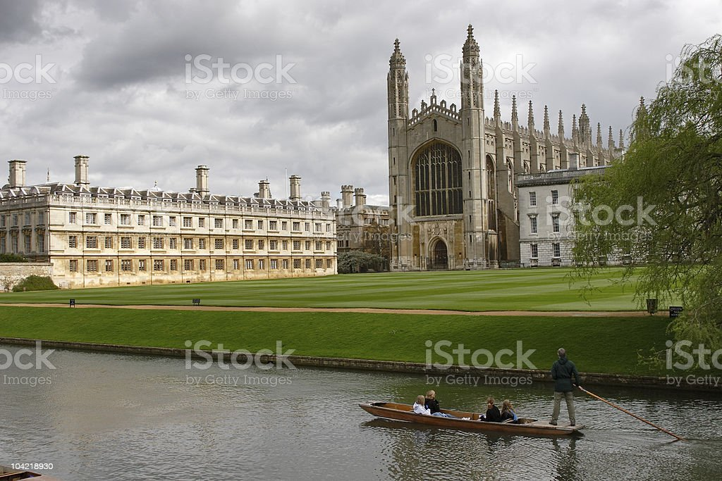 View of Cambridge university and a punt stock photo