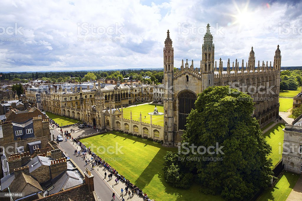 A view of Cambridge University and King's College Chapel stock photo