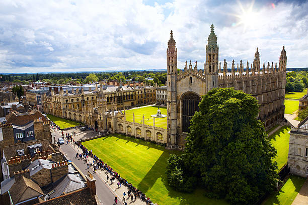 a view of cambridge university and king's college chapel - cambridge university stock photos and pictures
