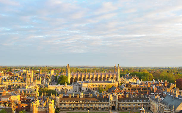 view of cambridge's colleges - cambridge university stock photos and pictures