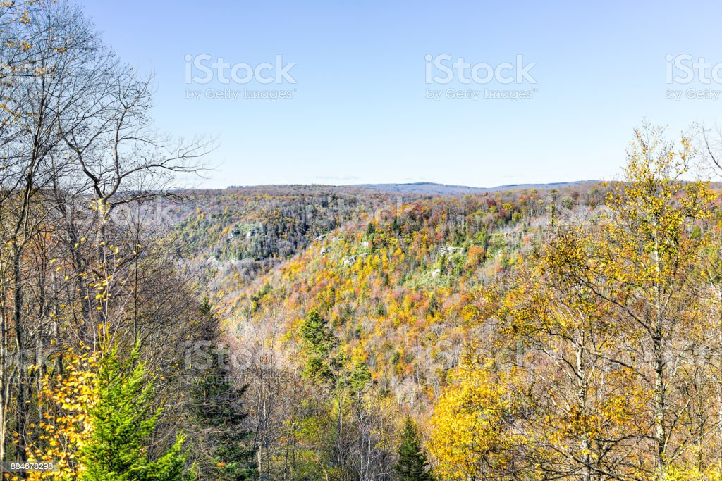 View of canaan valley mountains in Blackwater falls state park in West Virginia during colorful autumn fall season with yellow foliage on trees stock photo