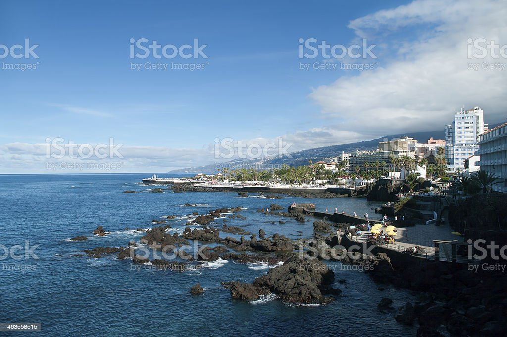 view of Canary beach resorts stock photo