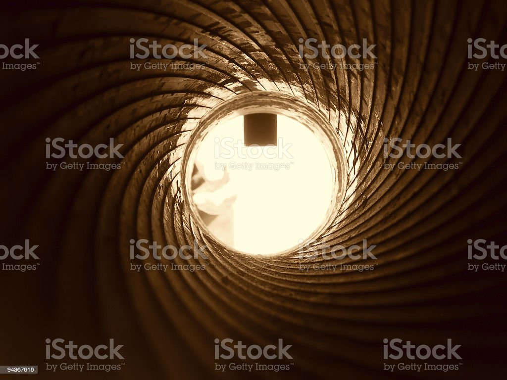 View of cannon barrel on the inside, sepia stock photo