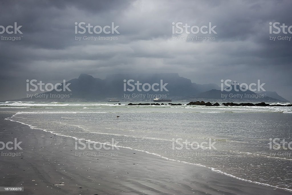 View of Cape Town from Blouberg Beach royalty-free stock photo