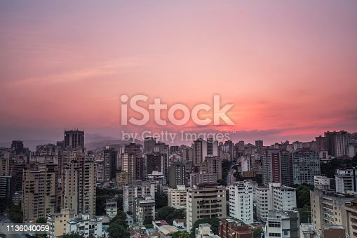 View of Caracas city from west side during a sunset. Venezuela