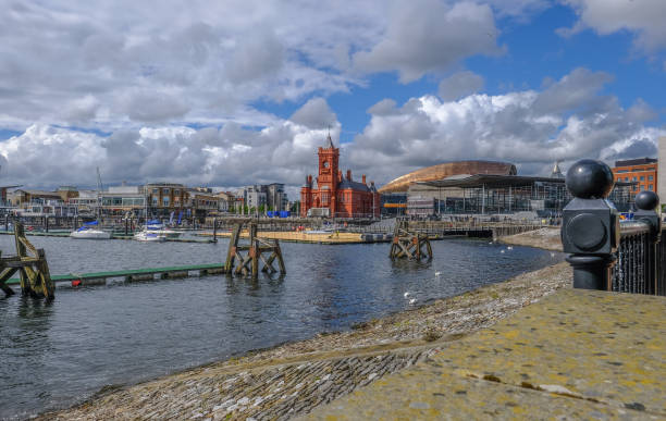 View of Cardiff Bay area with famous buildings, Pierhead and Sinead. stock photo