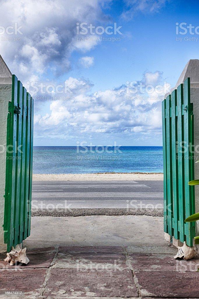 View of Caribbean Through Courtyard Gates, Grand Turk royalty-free stock photo