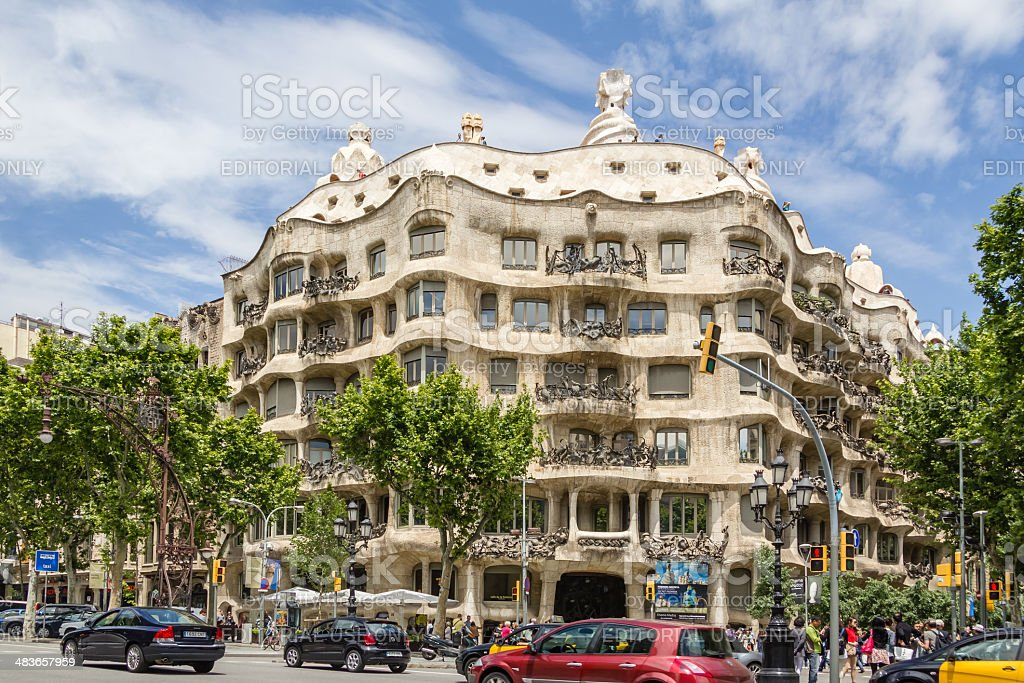View of Casa Mila or La Pedrera, in Barcelona stock photo