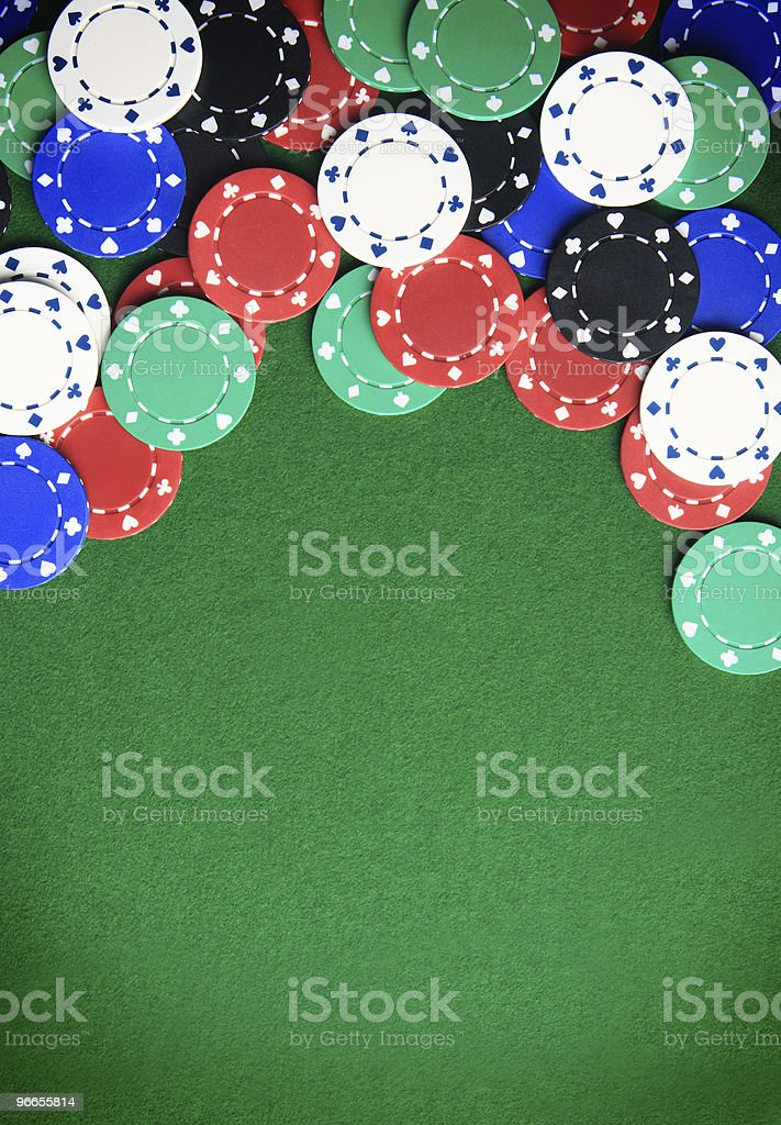 A view of casino chips on the table stock photo