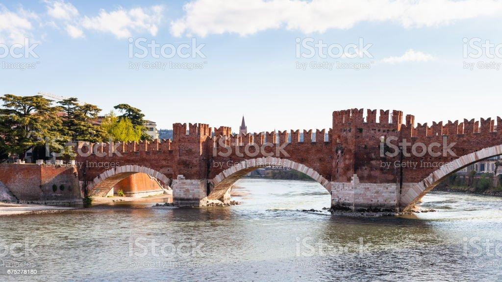 view of Castel Vecchio Bridge in Verona city stock photo