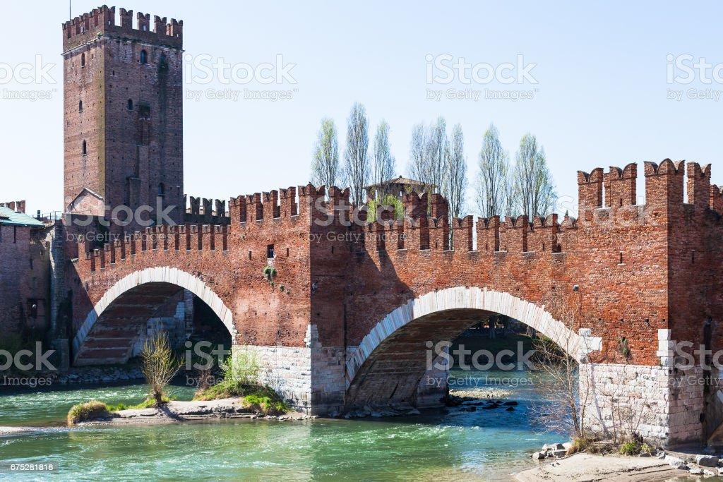 view of Castelvecchio Bridge on Adige River stock photo