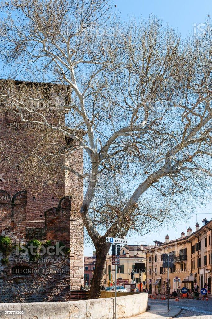 2017: view of Castelvecchio castle from Basilica stock photo