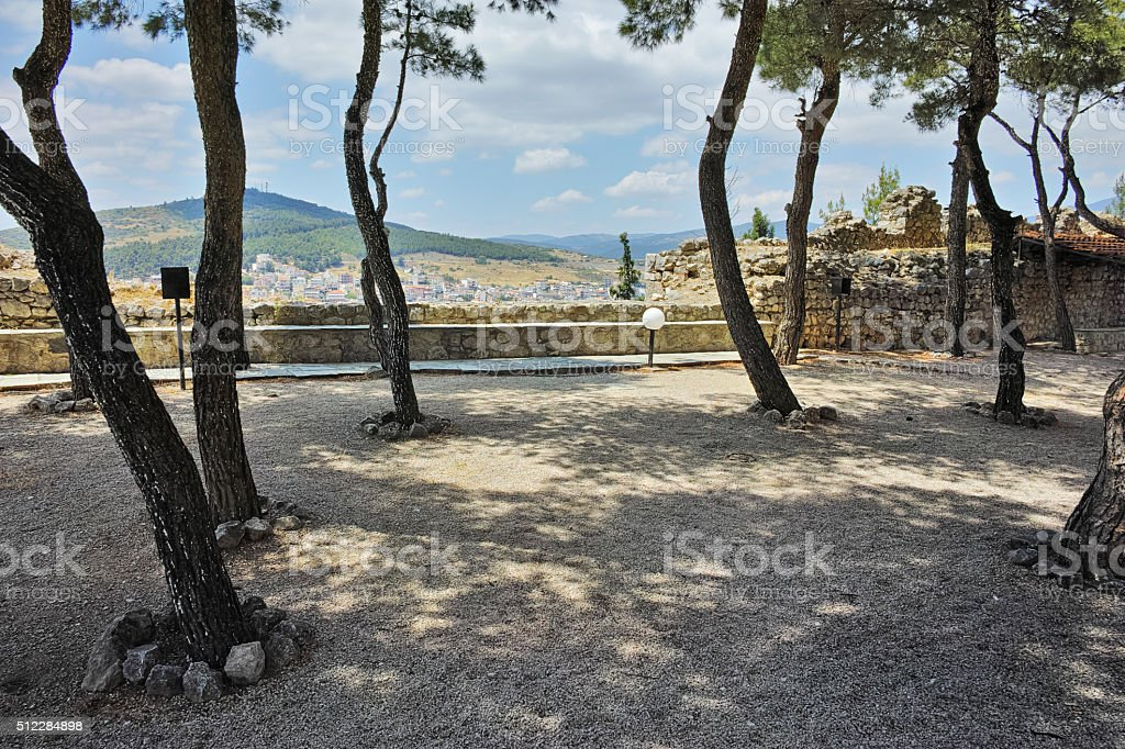View of castle of Lamia City, Central Greece stock photo