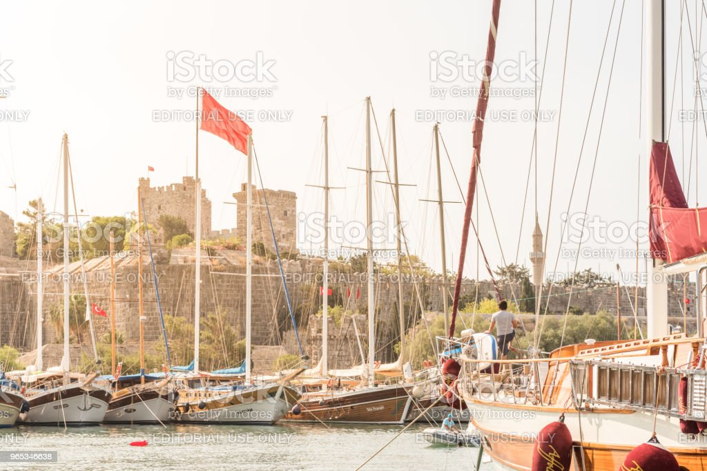 View of Castle of St. Peter,Bodrum Castle and Marine royalty-free stock photo
