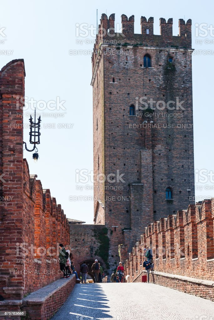 view of Castle through Castelvecchio Bridge stock photo