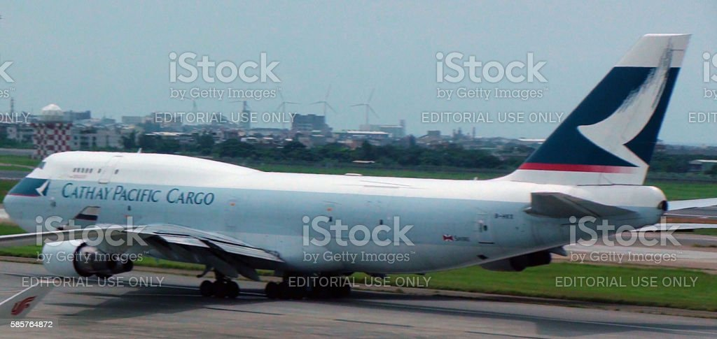 View Of Cathay Pacific Cargo Taxiing To Take Off stock photo