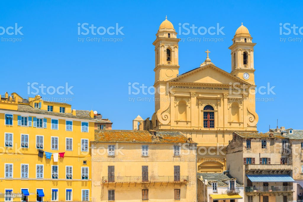 A view of cathedral building in Bastia port, Corsica island, France stock photo