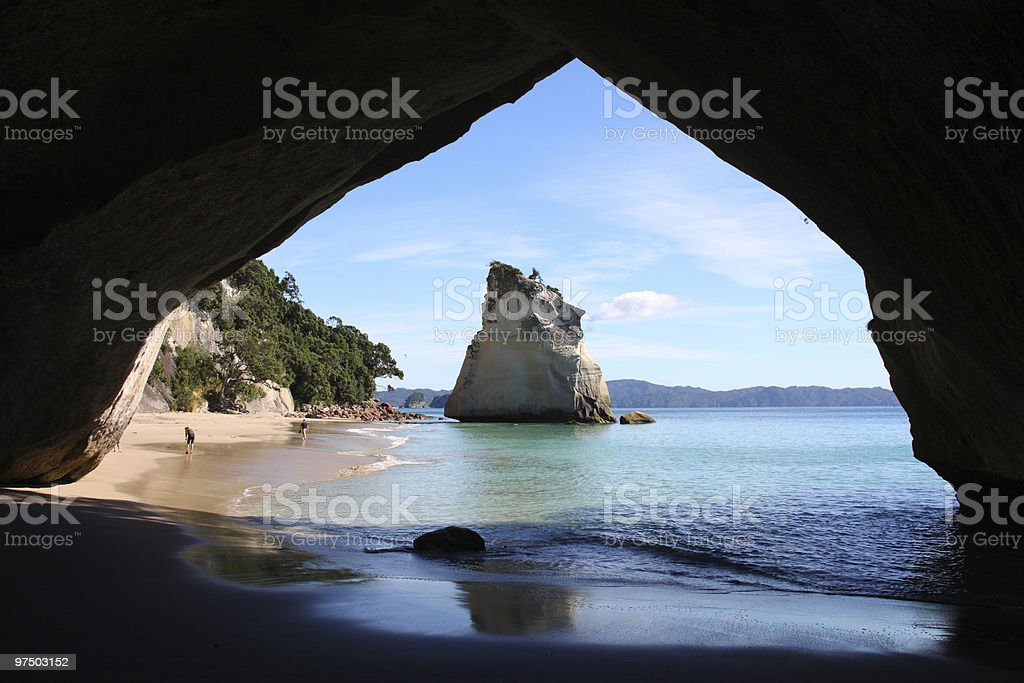 View of cathedral cove looking towards the water royalty-free stock photo