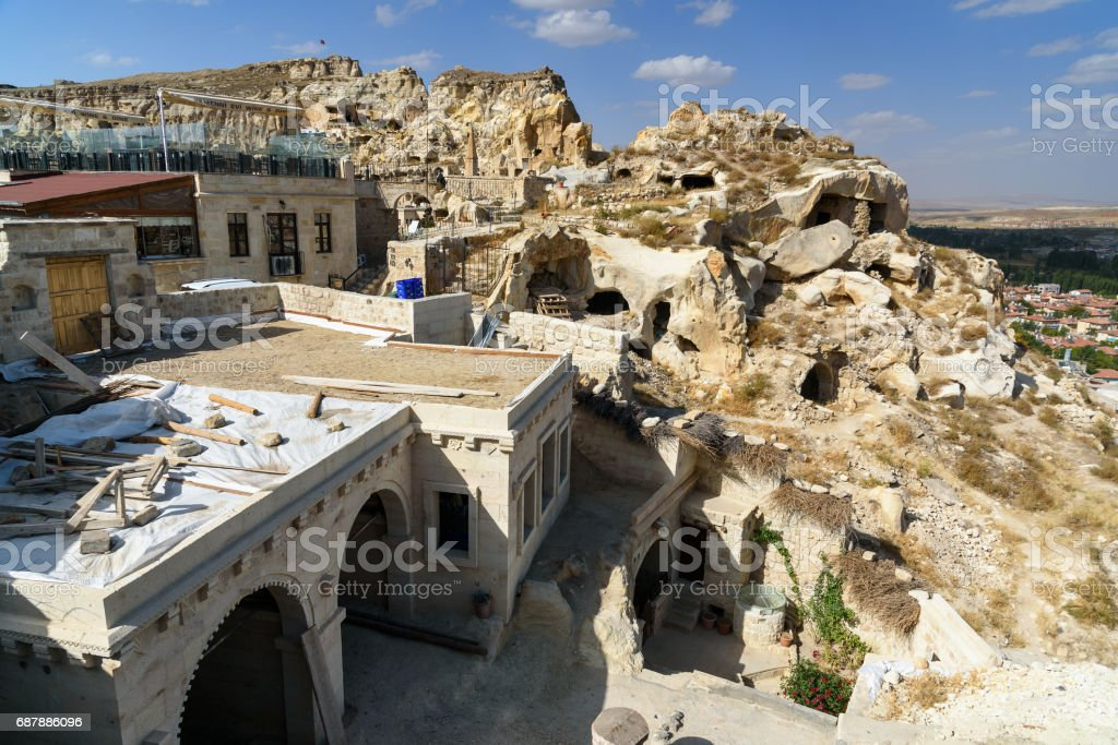 View of cave houses in Urgup. Cappadocia. Turkey stock photo