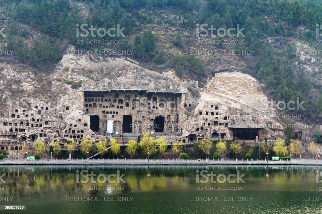 View of Caves on West Hill in Longmen Grottoes stock photo