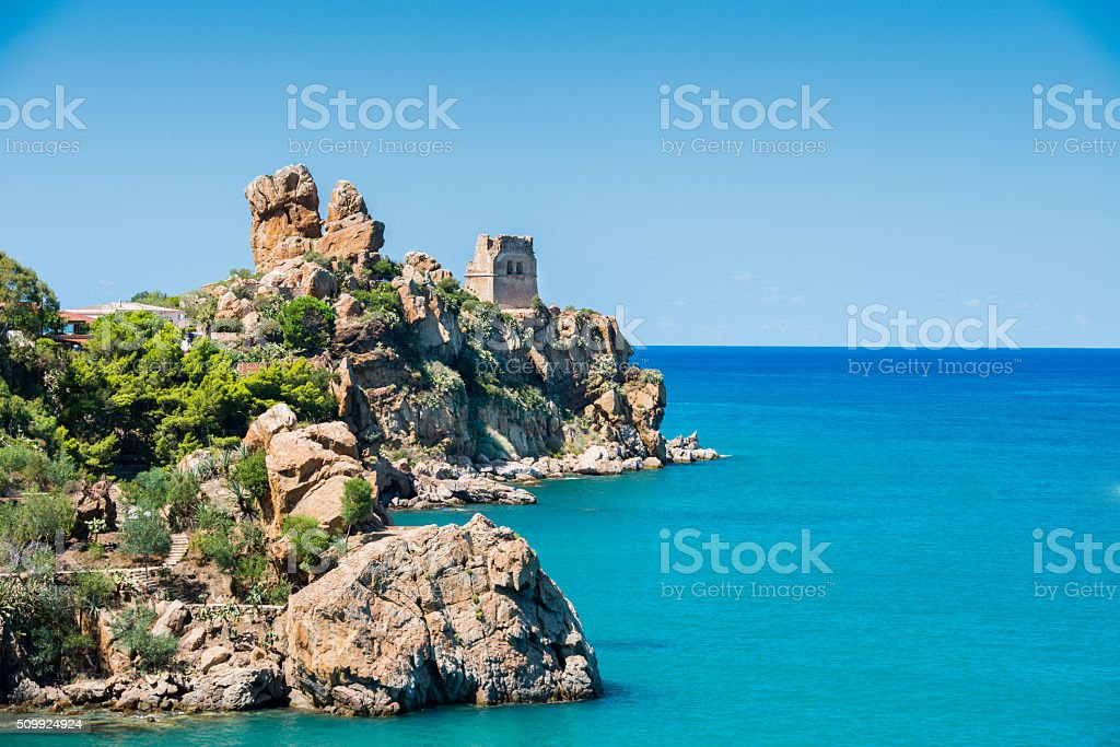 View of Cefalù with beach and castle stock photo