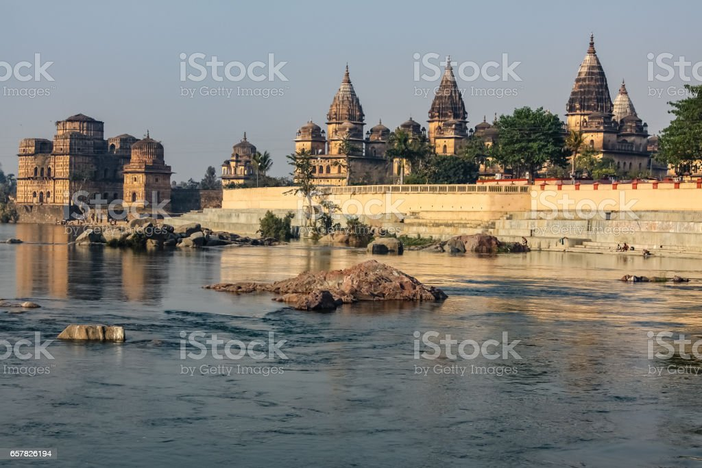 View of cenotaphs and Betwa River in Orchha stock photo