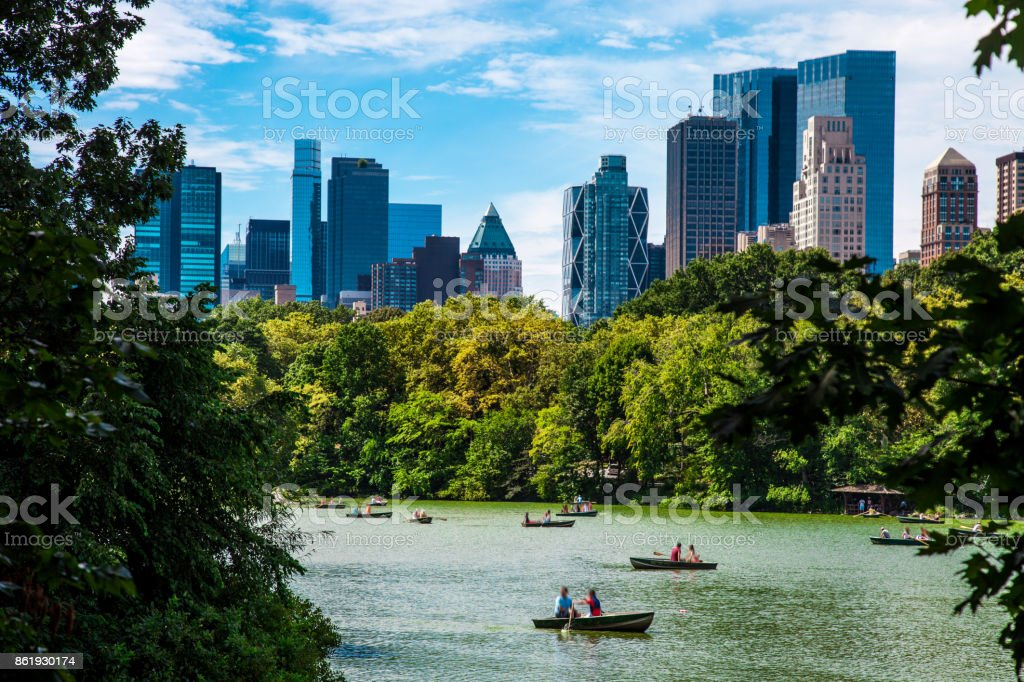 View of Central Park lake in New York stock photo